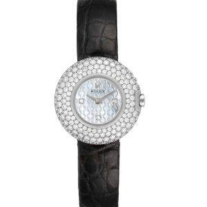 Rolex MOP Diamonds 18K White Gold Cellini Orchid 6201 Women's Wristwatch 23 MM