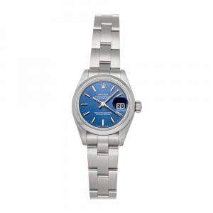 Rolex Blue Stainless Steel Datejust 69160 BLU IX OYS Women's Wristwatch 26 MM