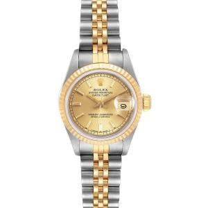 "ساعة يد نسائية رولكس ""دايتجست 69173"" ستانلس ستيل و ذهب أصفر عيار 18  شامبانيا 26 مم"