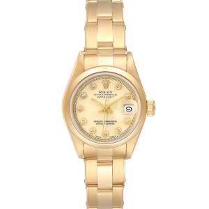 """ساعة يد نسائية رولكس """"بريزيدينت دايتجست 69168 """" ذهب أصفر عيار 18 و ألماس شامبانيا 26 مم"""