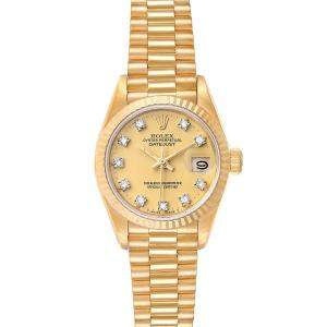 """ساعة يد نسائية رولكس """"بريزيدينت دايتجست 69178"""" ذهب أصفر عيار 18 و الماس شامبانيا 26 مم"""