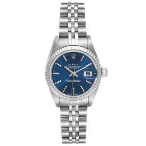 Rolex Blue 18K White Gold And Stainless Steel Datejust 79174 Women's Wristwatch 26 MM