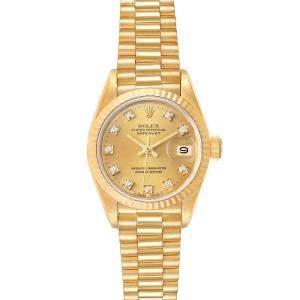 Rolex Champagne Diamonds 18K Yellow Gold President Datejust 69178 Women's Wristwatch 26 MM