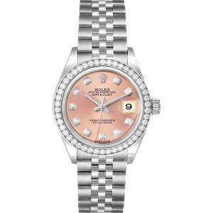 Rolex Pink Diamonds 18k White Gold And Stainless Steel Datejust 279384 Women's Wristwatch 28 MM