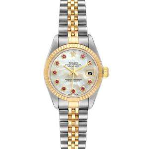 Rolex MOP Ruby 18k Yellow Gold And Stainless Steel Datejust 79173 Women's Wristwatch 26 MM
