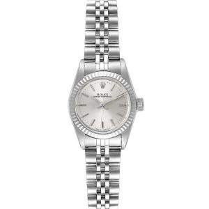 Rolex Silver 18k White Gold And Stainless Steel Oyster Perpetual 67194 Women's Wristwatch 24 MM