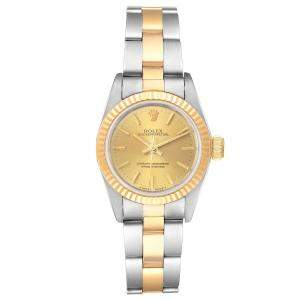 Rolex Champagne 18K Yellow Gold And Stainless Steel Datejust 67193 Women's Wristwatch 24 MM