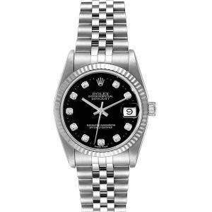 Rolex Black Diamonds 18k White Gold And Stainless Steel Datejust 68274 Women's Wristwatch 31 MM