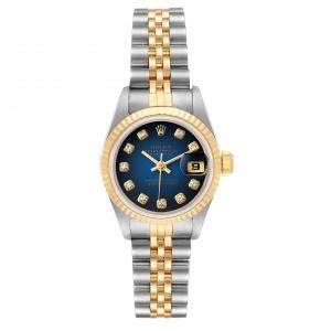 Rolex Blue Diamonds 18K Yellow Gold And Stainless Steel Datejust 69173 Women's Wristwatch 26 MM
