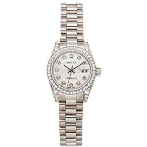 Rolex Silver Diamonds 18K White Gold Datejust 179159 Women's Wristwatch 26 MM