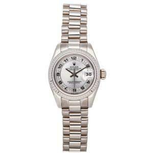 Rolex Silver Diamonds 18K White Gold Datejust 179179 Women's Wristwatch 26 MM