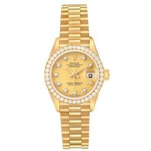 Rolex Champagne  Diamonds 18K Yellow Gold President Datejust 69138 Women's Wristwatch 26 MM