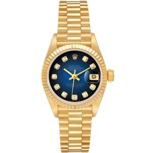 Rolex Blue 18K Yellow Gold President Vignette Diamond 69178 Women's Wristwatch 26MM