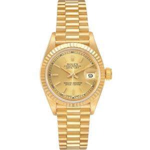 Rolex Champagne President Datejust 18K Yellow Gold 69178 Women's Wristwatch 26MM