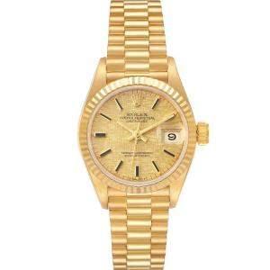 Rolex Champagne 18K YellowGold President Datejust Linen 69178 Women's Wristwatch 26MM