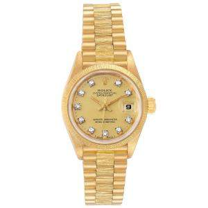 Rolex Champagne 18K Yellow Gold President Diamond Datejust 69278 Women's Wristwatch 26MM
