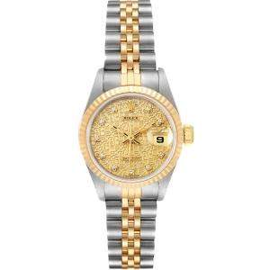 Rolex Champagne 18K Yellow Gold Diamond Datejust Jubilee 69173 Women's Wristwatch 26MM