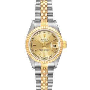 Rolex Champagne 18K Yellow Gold Stainless Steel Datejust 69173 Women's Wristwatch 26MM