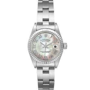 Rolex White MOP 18K White Gold Datejust 69174 Women's Wristwatch 26MM