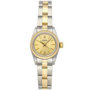 Rolex Champagne 18K Yellow Gold And Stainless Steel Oyster Perpetual 67193 Women's Wristwatch 24 MM