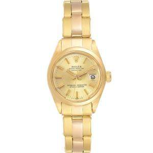 Rolex Champagne 18K Yellow Gold Datejust 6916 Women's Wristwatch 24 MM