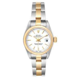Rolex White Stainless Steel 18K Yellow Gold Datejust 79163 Women's Wristwatch 26MM