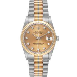 Rolex Champagne Diamonds 18K White/Rose/Yellow Gold President Tridor 68279 Women's Wristwatch 31 MM