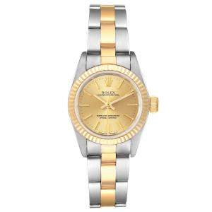 Rolex Champagne 18K Yellow Gold Stainless Steel Oyster Perpetual 67193 Women's Wristwatch 24MM