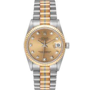 Rolex Champagne Diamonds 18K Yellow/White/Rose Gold President Tridor 68279 Women's Wristwatch 31 MM