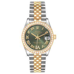 Rolex Green Diamonds 18K Yellow Gold And Stainless Steel Datejust 278383 Women's Wristwatch 31 MM