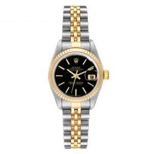 Rolex Black 18K Yellow Gold And Stainless Steel Datejust 79173 Women's Wristwatch 26 MM