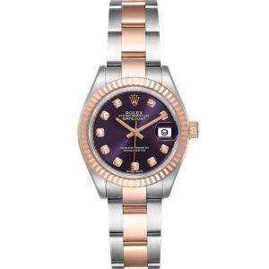 Rolex Aubergine Diamonds 18K Rose Gold And Stainless Steel Datejust 279171 Women's Wristwatch 28 MM