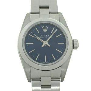 Rolex Blue Stainless Steel Oyster Perpetual 76080 Women's Wristwatch 24 MM