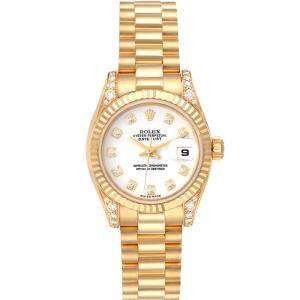 Rolex White Diamonds 18K Yellow Gold President 179238 Women's Wristwatch 26 MM