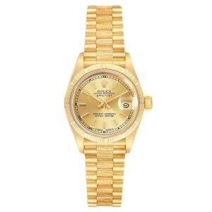 Rolex Champagne 18K Yellow Gold President Datejust 69278 Women's Wristwatch 26 MM