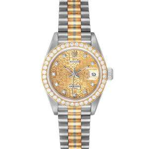 Rolex Champagne Diamonds 18K White Yellow Rose Gold President Tridor 69139 Women's Wristwatch 26 MM
