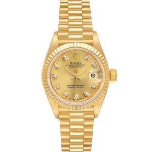 Rolex Champagne Diamonds 18K Yellow Gold President Datejust 69178 Women's Wristwatch 26 MM
