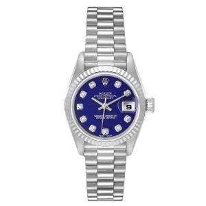 Rolex Blue Diamonds 18K White Gold President Datejust 69179 Women's Wristwatch 26 MM