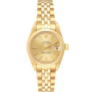 Rolex Champagne Diamonds 18k Yellow Gold President Datejust 69168 Women's Wristwatch 26 MM
