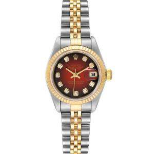 Rolex Red Diamonds 18K Yellow Gold And Stainless Steel Datejust 79173 Women's Wristwatch 26 MM