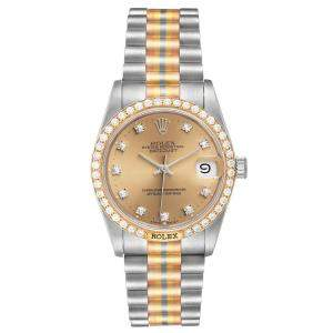 Rolex Champagne Diamonds 18K White Yellow Rose Gold President Tridor 68149 Women's Wristwatch 31 MM