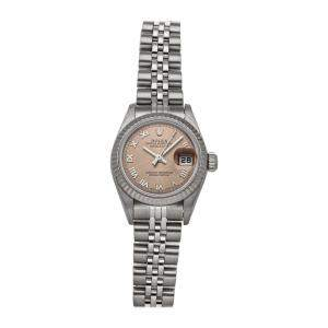 Rolex Pink 18K White Gold And Stainless Steel Datejust 79174 Women's Wristwatch 26 MM