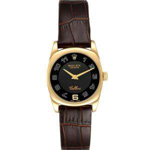 Rolex Black 18K Yellow Gold Cellini Danaos 6229 Women's Wristwatch 26.5 MM