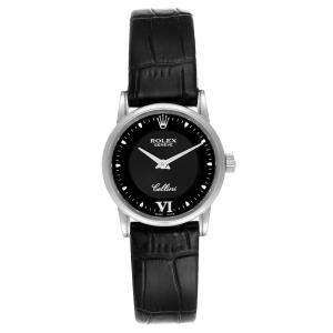 Rolex Black 18k White Gold Cellini Classic 6111 Women's Wristwatch 26 MM