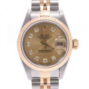 Rolex Champagne Diamonds 18K Yellow Gold And Stainless Steel Datejust 69173G Women's Wristwatch 26 MM