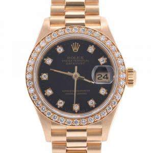 Rolex Black Diamonds 18k Yellow Gold Datejust 69138G Automatic Women's Wristwatch 26 MM