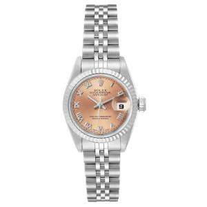 Rolex Salmon 18K White Gold Datejust 69174 Women's Wristwatch 26 MM