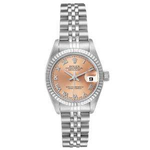 Rolex Salmon 18K White Gold And Stainless Steel Datejust 69174 Women's Wristwatch 26 MM