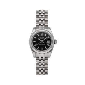 Rolex Black Stainless Steel Datejust 179160 Women's Wristwatch 26 MM