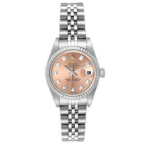 Rolex Salmon Diamonds 18K White Gold And Stainless Steel Datejust 79174 Women's Wristwatch 26 MM